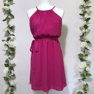 LOFT Pink Sleeveless Blouson Dress w Ribbon 0